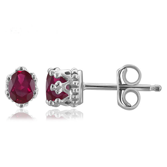 Oval Red Glass-Filled Ruby Stud Earrings in Sterling Silver