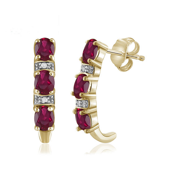 Diamond Accent Red Lead Glass Filled Ruby Gold Over Silver Drop Earrings
