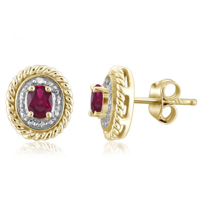 Diamond Accent Oval Red Lab-Created  Ruby Gold Over Silver Stud Earrings
