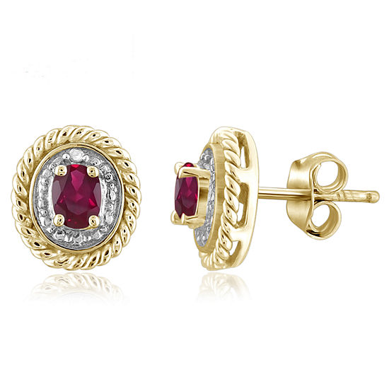 Diamond Accent Oval Red Lab Created Ruby Gold Over Silver Stud Earrings