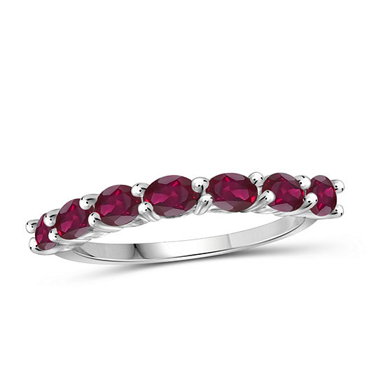 Lab-Created Red Ruby Sterling Silver Delicate Ring