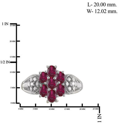 Womens Diamond Accent Red  Lab Created Ruby in Sterling Silver Cluster Ring