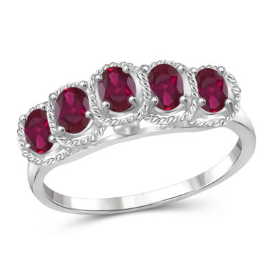 Womens Lead-glass Filled Ruby Sterling Silver Side Stone Ring