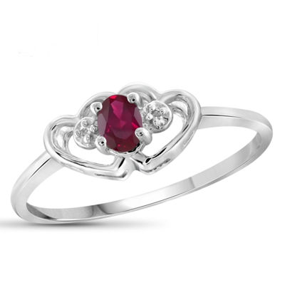 Lab-Created Red Ruby and Diamond Accent in Sterling Silver Ring