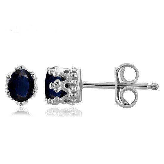 Genuine Blue Sapphire Sterling Silver 4.1mm Stud Earrings