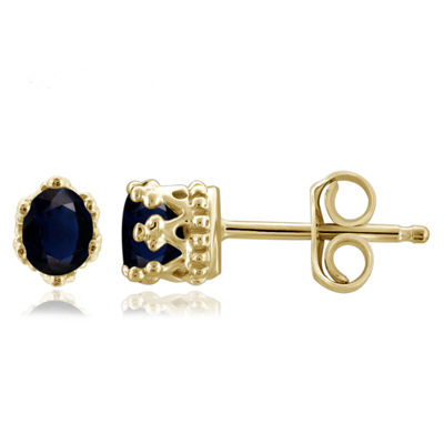 Blue Sapphire 14K Gold Over Silver 4.1mm Stud Earrings