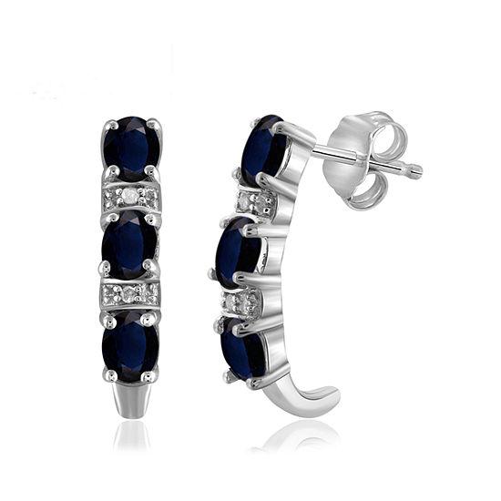 Diamond Accent Genuine Blue Sapphire Sterling Silver Drop Earrings