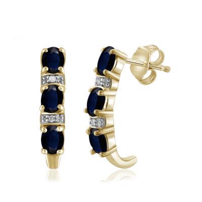 Diamond Accent Genuine Blue Sapphire Drop Earrings