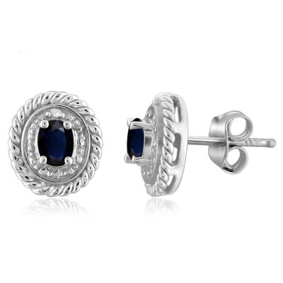 Diamond Accent Blue Sapphire Sterling Silver 8.8mm Stud Earrings