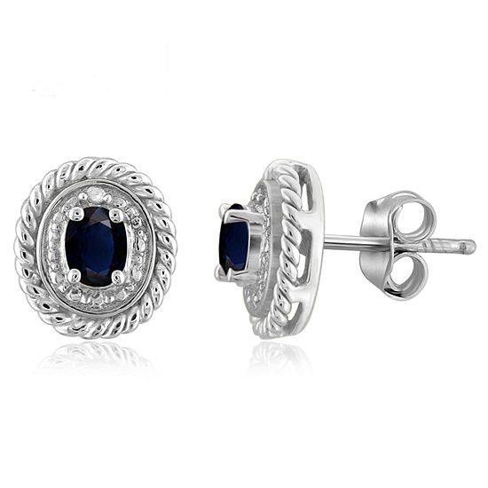 Diamond Accent Genuine Blue Sapphire Sterling Silver 8.8mm Stud Earrings