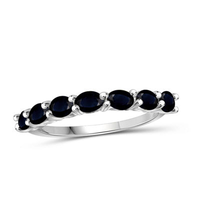 Womens Color Enhanced Blue Sapphire Sterling Silver Delicate Ring