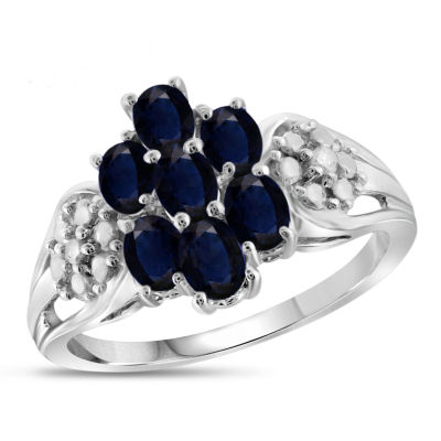 Womens Diamond Accent Color Enhanced Blue Sapphire Sterling Silver Cluster Ring