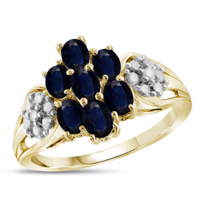 Womens Diamond Accent Color Enhanced Blue Sapphire Gold Over Silver Cluster Ring