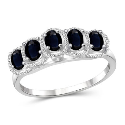 Womens Color Enhanced Blue Sapphire Sterling Silver Side Stone Ring