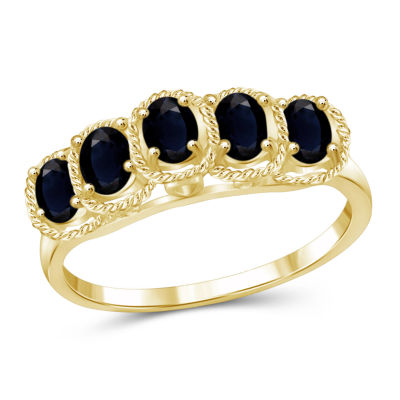 Womens Color Enhanced Blue Sapphire Gold Over Silver Side Stone Ring