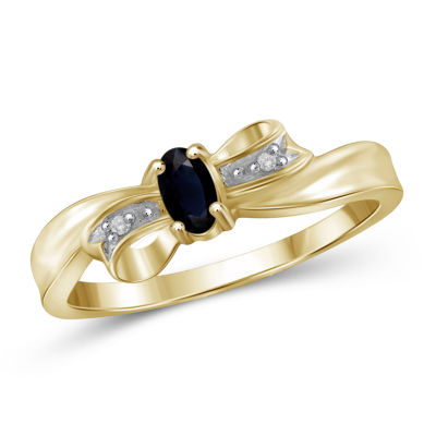 Womens Diamond Accent Color Enhanced Blue Sapphire Gold Over Silver Delicate Ring