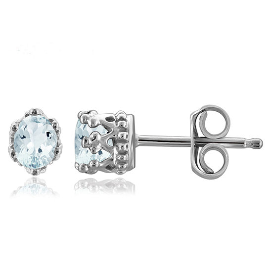Genuine Blue Aquamarine Sterling Silver 4.1mm Stud Earrings