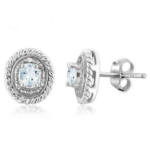 Diamond Accent Oval Blue Aquamarine Sterling Silver Stud Earrings