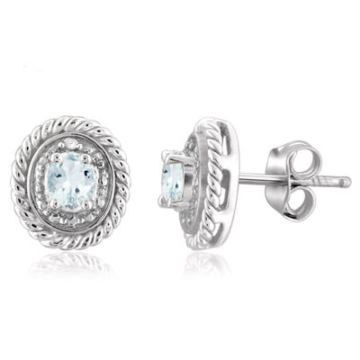 Diamond Accent Blue Aquamarine Sterling Silver 8.8mm Stud Earrings