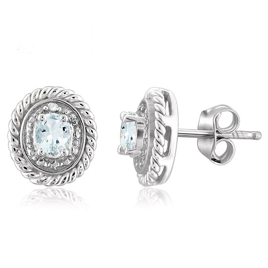 Diamond Accent Genuine Blue Aquamarine Sterling Silver 8.8mm Stud Earrings
