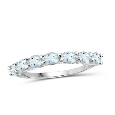 Womens Blue Aquamarine Sterling Silver Side Stone Cocktail Ring