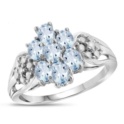 Womens Diamond Accent Color Enhanced Blue Aquamarine Sterling Silver Cluster Ring