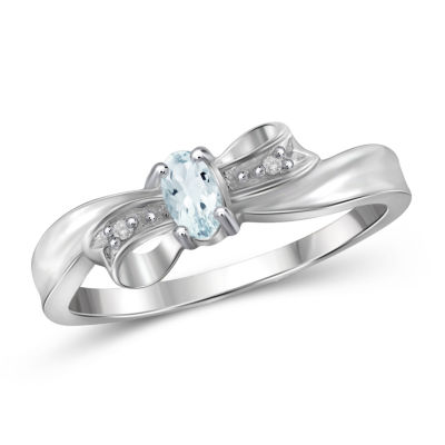 Womens Diamond Accent Color Enhanced Blue Aquamarine Sterling Silver Delicate Ring