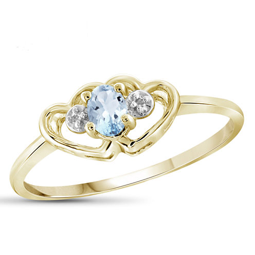 Womens Diamond Accent Color Enhanced Blue Aquamarine Gold Over Silver Delicate Ring