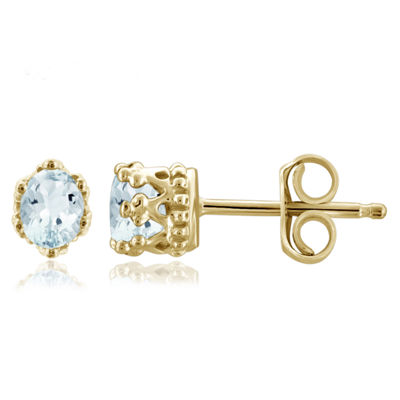 Blue Aquamarine 14K Gold Over Silver 4.1mm Stud Earrings