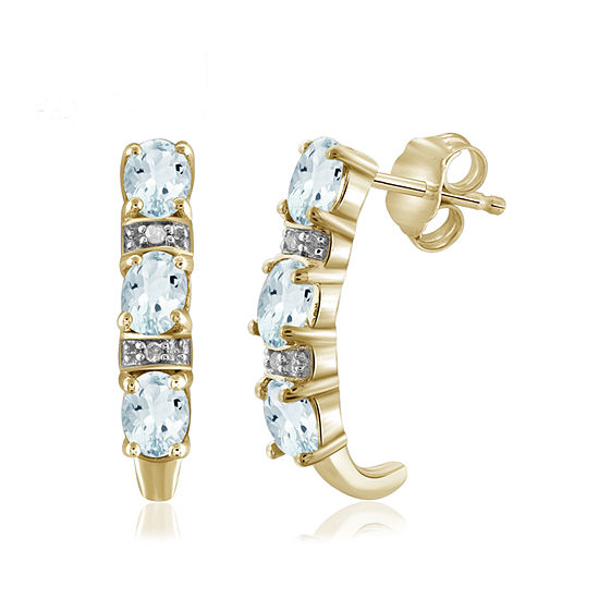 Diamond Accent Genuine Blue Aquamarine 14K Gold Over Silver Drop Earrings