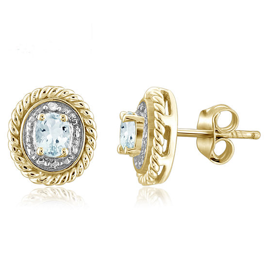 Diamond Accent Genuine Blue Aquamarine 14K Gold Over Silver 8.8mm Stud Earrings