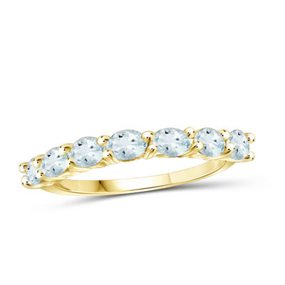 Womens Blue Aquamarine 14K Gold Over Silver Side Stone Ring