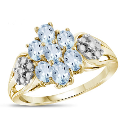 Womens Diamond Accent Color Enhanced Blue Aquamarine Gold Over Silver Cluster Ring