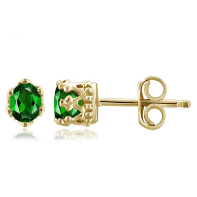 Green Chrome Diopside 14K Gold Over Silver 4.1mm Stud Earrings