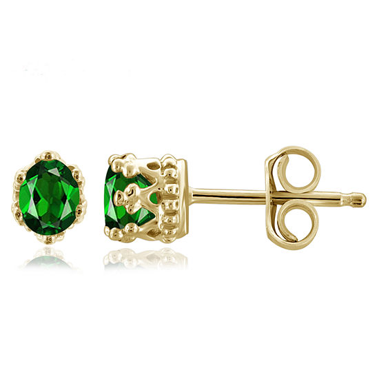 Genuine Green Chrome Diopside 14K Gold Over Silver 4.1mm Stud Earrings