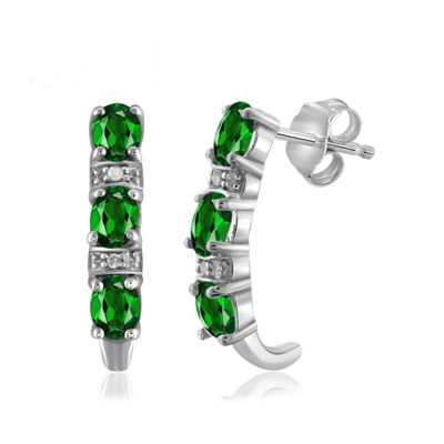 Diamond Accent Green Chrome Diopside Sterling Silver Drop Earrings