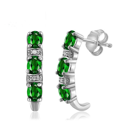 Diamond Accent Genuine Green Chrome Diopside Sterling Silver Drop Earrings