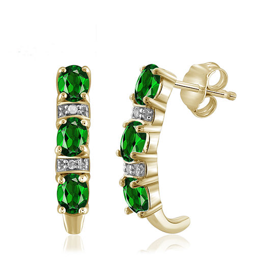 Diamond Accent Genuine Green Chrome Diopside 14K Gold Over Silver Drop Earrings