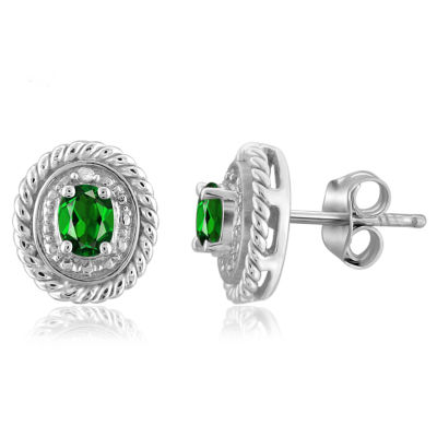 Diamond Accent Genuine Green Chrome Diopside 8.8mm Stud Earrings