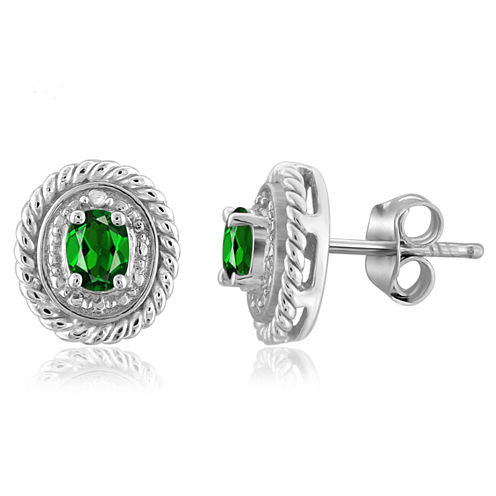 Diamond Accent Oval Green Chrome Diopside Sterling Silver Stud Earrings
