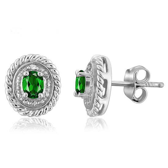 Diamond Accent Genuine Green Chrome Diopside Sterling Silver 8.8mm Stud Earrings
