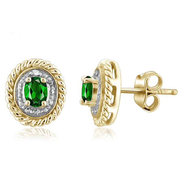 Diamond Accent Oval Green Chrome Diopside 14K Gold Over Silver Stud Earrings