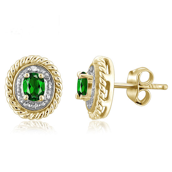 Diamond Accent Genuine Green Chrome Diopside 14K Gold Over Silver 8.8mm Stud Earrings