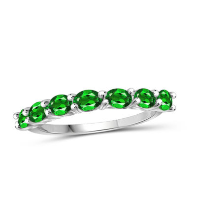 Womens Color Enhanced Green Chrome Diopside Sterling Silver Side Stone Ring