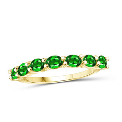 Womens Color Enhanced Green Chrome Diopside Gold Over Silver Side Stone Ring