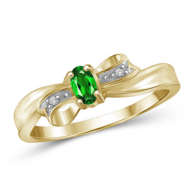 Womens Diamond Accent Color Enhanced Green Chrome Diopside Gold Over Silver Delicate Ring