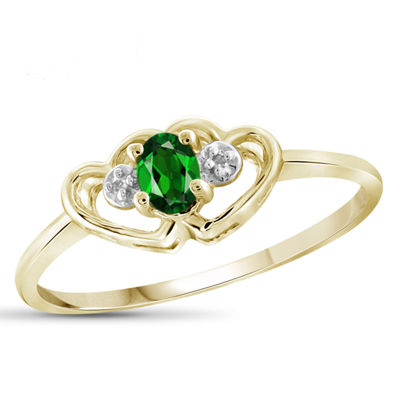 Womens Diamond Accent Green Chrome Diopside 14K Gold Over Silver Heart Delicate Ring