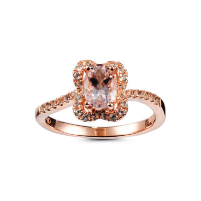 Womens Pink Morganite Gold Over Silver Halo Ring