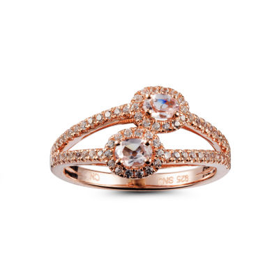 Womens Pink Morganite 14K Gold Over Silver Bypass  Cocktail Ring