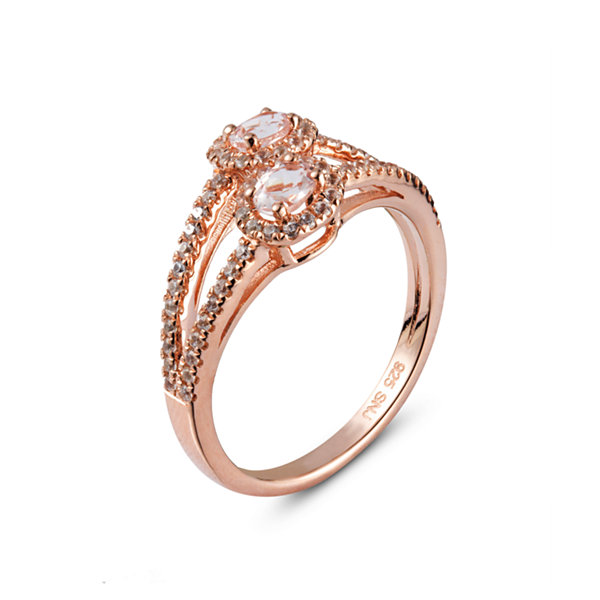 Womens Pink Morganite Gold Over Silver Bypass Ring